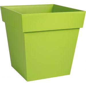 Eda Plastiques Pot plastique carré Toscane Eda - 10,2 l - Soucoupe clipsée - Pistache