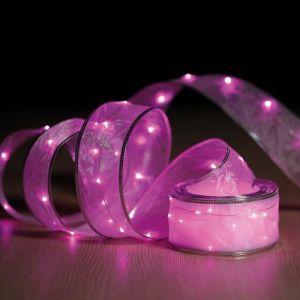 Ruban guirlande lumineuse 100 micro LED, 5 m de lumière fixe rose