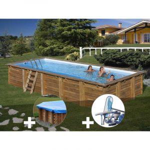 Sunbay Kit piscine bois Braga 8,00 x 4,00 x 1,46 m + Bâche hiver + Kit d'entretien