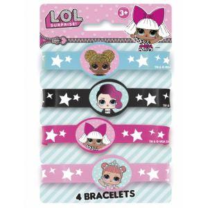 4 Bracelets élastiques Lol Surprise Taille Unique
