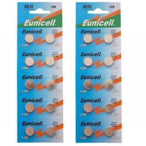 Camelion Lot de 20 piles boutons alcalines AG10 R1130/SR54/SR1131/389/390