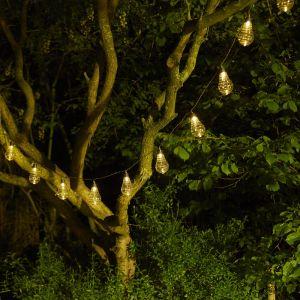 Cemonjardin Guirlande lumineuse solaire 10 ampoules Spirale