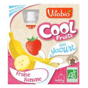 Vitabio Cool Fruits au yaourt - 4 compotes Bio fraise / banane