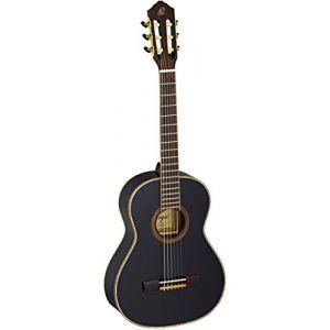 Ortega R221BK-3/4 Guitare de concert avec housse Taille 3/4 Corps Acajou Table épicéa Noir