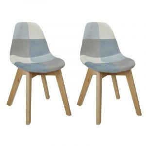 Lot de 2 chaises enfant Patchwork Leonie Bleue