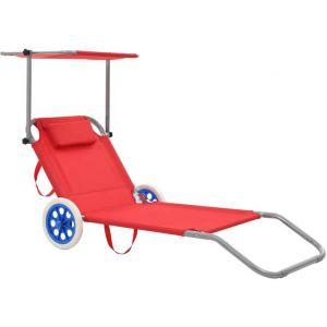 VidaXL Chaise longue pliable avec auvent et roues Acier Rouge