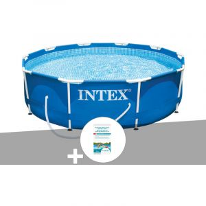 Intex Kit piscine tubulaire Metal Frame ronde 3,05 x 0,76 m + Kit de traitement au chlore