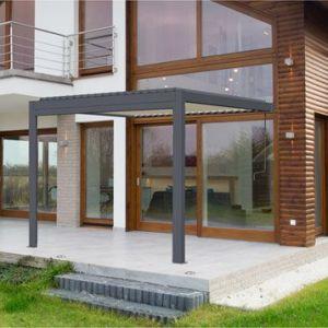 Pergola aluminium adossée 9 m² Cadix gris anthracite