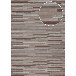 Atlas Papier peint aspect pierre carrelage ICO-6705-3 papier peint intissé lisse à l'aspect de pierre satiné brun gris cuivré 7,035 m2