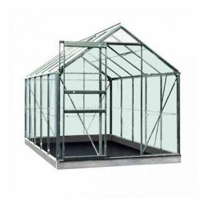 ACD Serre de jardin en polycarbonate Intro Grow - Lily - 6,20m², Couleur Silver, Base Avec base, Filet ombrage oui, Descente d'eau 2 - longueur : 3m19