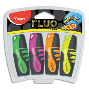 Maped Surligneurs Fluo'Peps Pocket - Pochette de 4 : vert, rose, jaune, orange