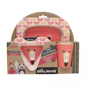 Les Déglingos Coffret Repas Bambou Flamingos le Flamant Rose - LES