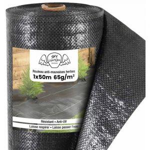 SkyLantern Toiles de Paillage 65g/m² - Geotextile Anti Repousse 50M pour Jardin Potager - Bache Mauvaise Herbe 65g pour Potager
