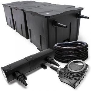 wiltec Kit de Filtration avec Bio Filtre 90000l, UVC Stérilisateur 18W, 80W Pompe et 25m Tuyau