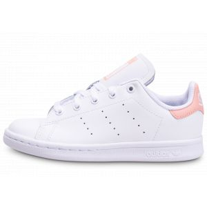 Adidas Stan Smith Cursive Logo cuir Enfant-30-Blanc Rose