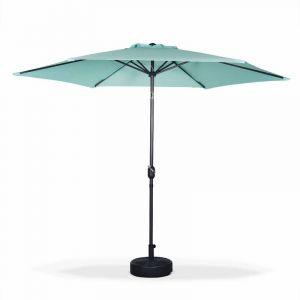 Alice's Garden Parasol droit rond Ø300cm - Touquet Vert d'eau - mât central en aluminium orientable et manivelle d'ouverture
