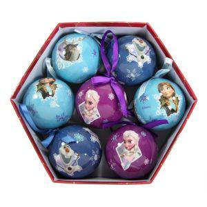 7 boules de Noël La reine des Neiges (7,5 cm)