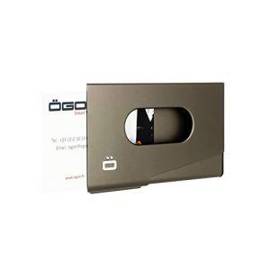 Ogon OT-Dgrey Porte-Cartes de Visite One Touch Aluminium anodisé Gris foncé