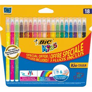 Bic Lot 18 feutres Kid couleur - Coloris assortis