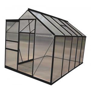 Chalet et Jardin Serre en polycarbonate et aluminium peinte coloris anthracite 5,9 m² avec base