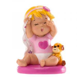 Dekora Figurine Topper pour gâteau de baptême ou de Naissance, bébé Fille Qui bâille, en résine