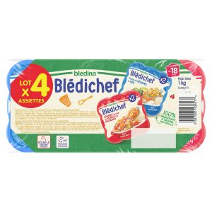 Blédina Blédichef lot de 4 plats de légumes poisson et volaille à la basquaise 1kg