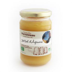 Famille Perronneau Miel d'agrumes bio dans pot en verre de 375 g