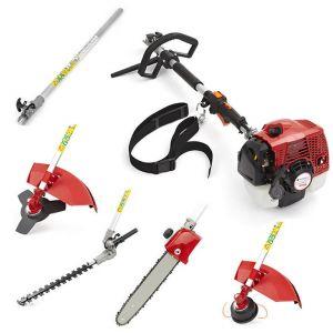 True tools Outil professionnel 5 en 1 - taille haie tronconneuse debroussailleuse elagueuse thermique 55cc 2 5Kw