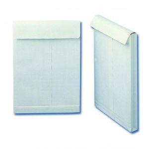 Clairefontaine 16454C - Boîte de 250 pochettes à soufflet Adhéclair kraft blanc, adhésive avec bande, 120 g/m², 260x330x30