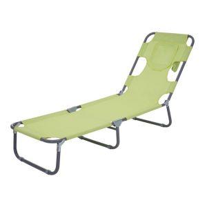Décoshop26 Transat chaise longue de jardin pliable en tissu vert