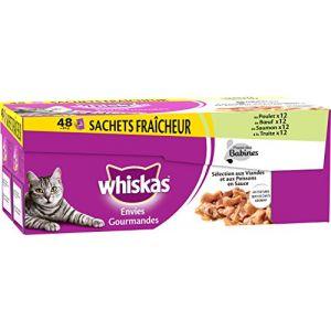 Whiskas Envies gourmandes de viandes et poissons pour chat 48 x 85 g
