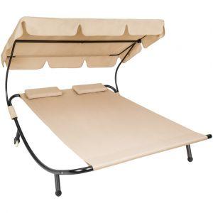 TecTake Chaise longue, Transat, Pare Soleil, 2 Places Beige + 2 Coussins