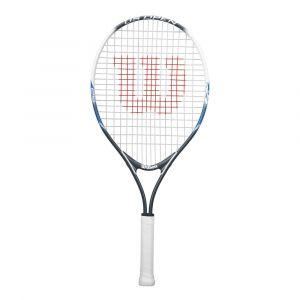 Wilson Raquette de Tennis pour Enfants US Open 25 Taille 9-12 ans Gris/Blanc/Bleu WRT21030U