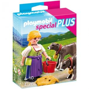 Playmobil 4778 Special Plus - Agricultrice avec veaux