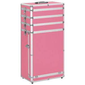 VidaXL Valise de maquillage à 4 étages en aluminium Rose