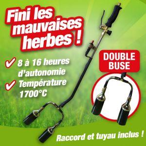 Outiror Desherbeur thermique double buse avec allume piezo + detendeur butane propane + tuyau 5m