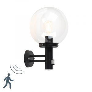 Qazqa Moderne Moderne buitenwandlamp zwart met heldere bol en bewegingsmelder - Sfera Plastique /Acier inoxydable Noir Globe / Extérieur / Jardin / Luminaire / Lumiere / Éclairage