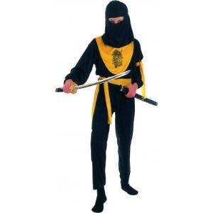 Déguisement ninja noir et jaune (taille au choix)