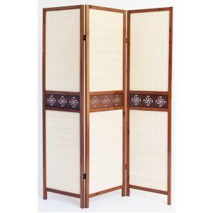 Pegane Paravent en bois brun avec bambou 3 pans -
