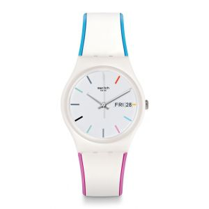 Swatch Gw708 Edgyline bleu, montre de Silicone rose & blanc