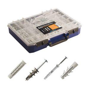Scell-it COF002B - Coffret de 835 chevilles à frapper, nylon, et autoforeuses