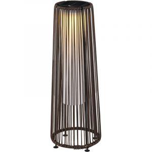 Outsunny Lampadaire LED de jardin style colonial dim. Ø 21,5 x 61H cm résine tressée filaire chocolat 21x21x61cm Marron