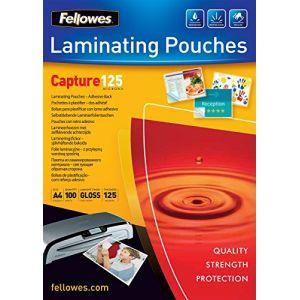 Fellowes 5328901 - Boîte de 100 pochettes à dos adhésif Peel & Stick, format A4, 2 x 125µ