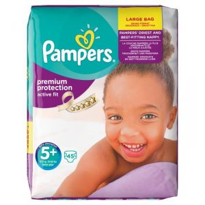 Pampers Active Fit taille 5+ Junior+ 13-27 kg - Large Bag 45 couches