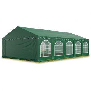 Intent24 Tente Barnum de Réception 5x10 m PREMIUM Bâches Amovibles PVC 500 g/m² vert fonce + Cadre de Sol Jardin.FR