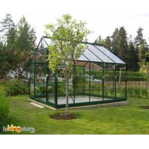 Chalet et Jardin Serre de jardin 108 en verre trempé 7,42 m2 avec base d'ancrage