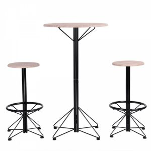 Calicosy Easy Meuble Ensemble Bar Table Tabourets 2 Places Chêne