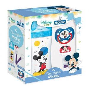 Dodie Coffret Mickey (1 biberon Initiation+ 330 ml bleu Mickey, 1 sucette anatomique 18 mois+, 1 attache sucette Mickey)