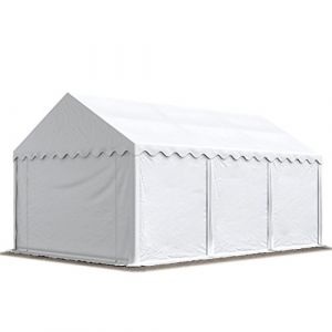 Intent24 Abri / Tente de stockage ECONOMY - 3 x 6 m en blanc - toile PVC 500 g/m² imperméable