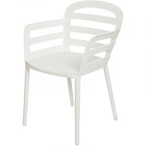 Chaise de jardin en polypropylène Boston Blanc - Jardideco